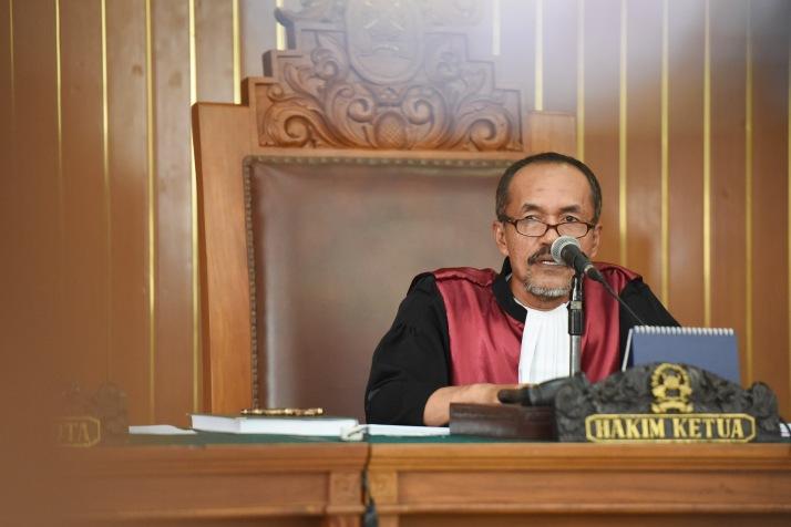Hakim Sarpin Rizaldi memimpin sidang praperadilan Budi Gunawan kepada KPK di Pengadilan Negeri Jakarta Selatan, Jakarta, Senin (2/2).